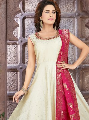 Art Silk Off White Fancy Floor Length Anarkali Suit