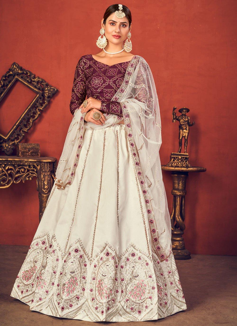 Art Silk Off White Sequins Lehenga Choli