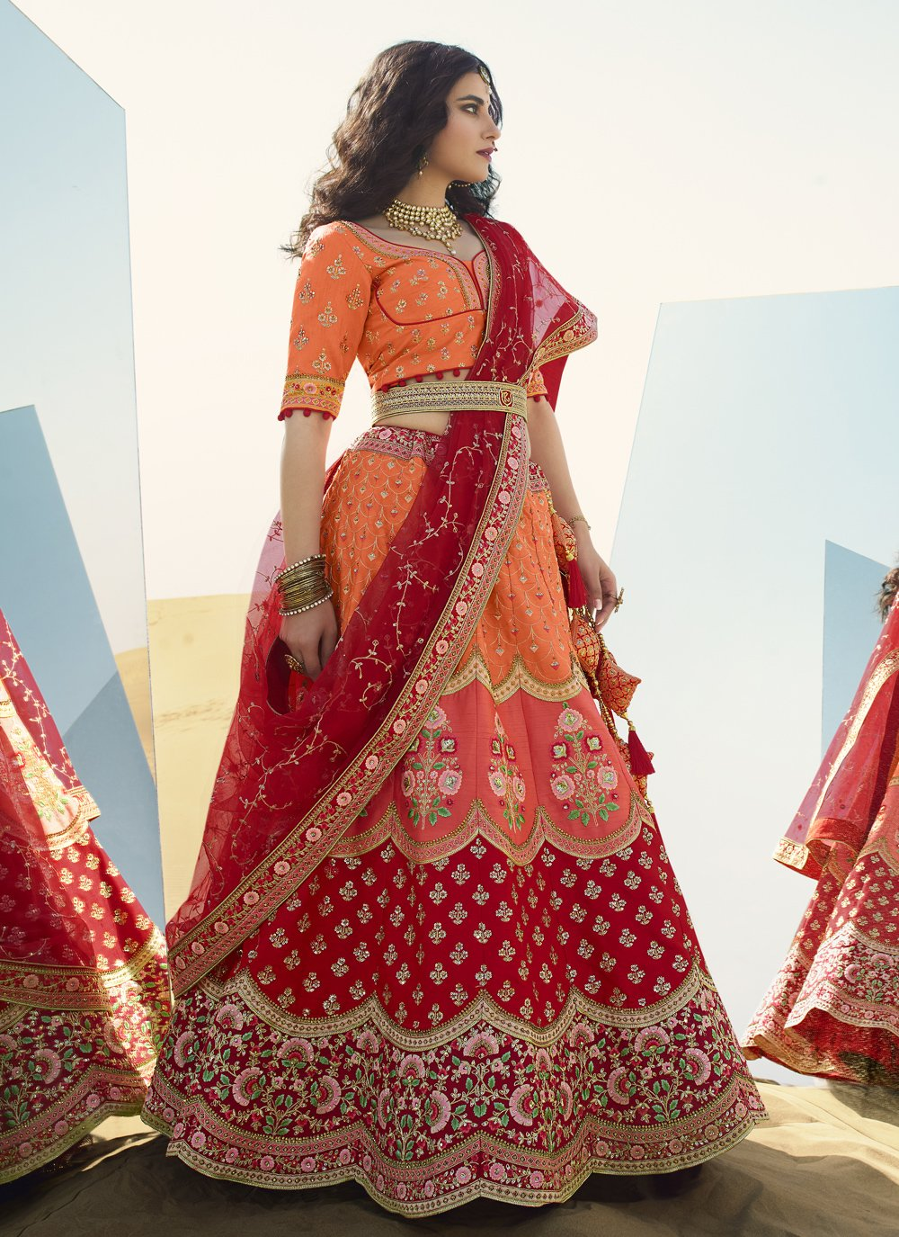 Art Silk Orange and Red Zari A Line Lehenga Choli