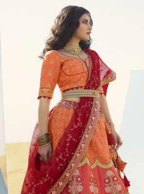 Art Silk Orange and Red Zari A Line Lehenga Choli