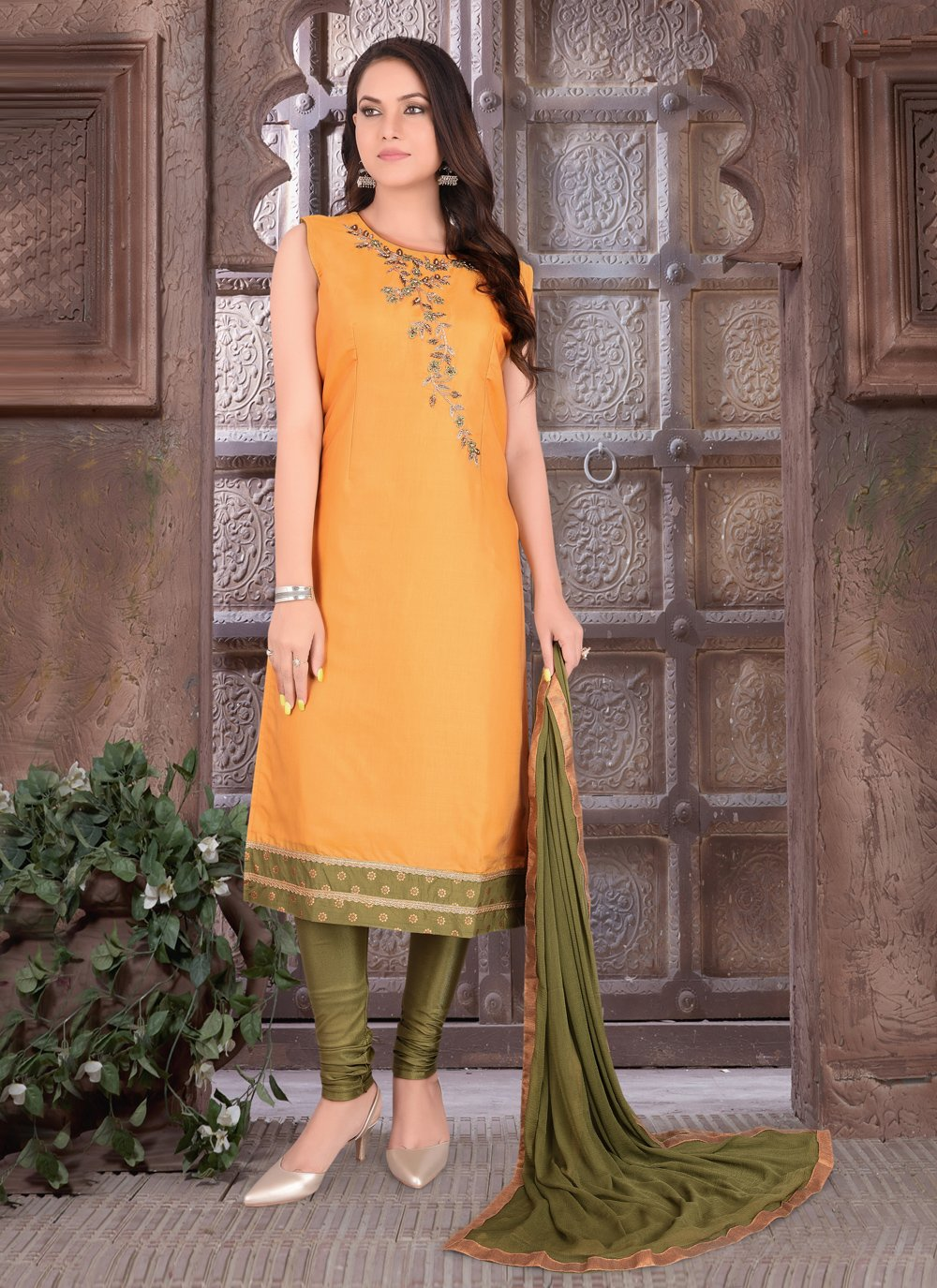 Art Silk Orange Embroidered Readymade Suit