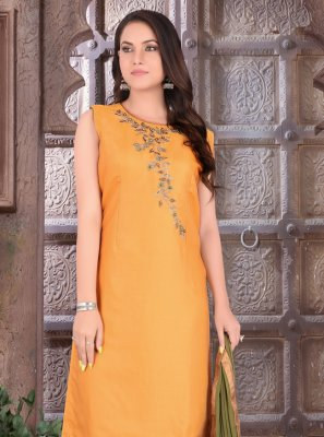 Art Silk Orange Embroidered Readymade Suit