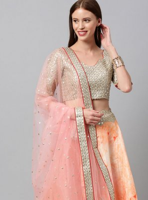 Art Silk Orange Print Lehenga Choli