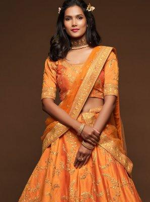 Art Silk Orange Sequins Lehenga Choli