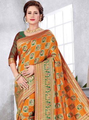 Art Silk Orange Weaving Traditional Designer Saree