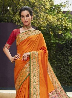 Art Silk Orange Woven Traditional Designer Saree