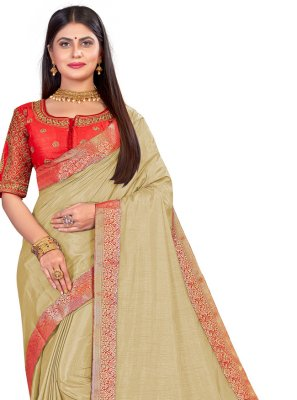 Art Silk Patch Border Beige Traditional Designer Saree