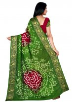 Art Silk Patch Border Green and Maroon Designer Traditional Saree