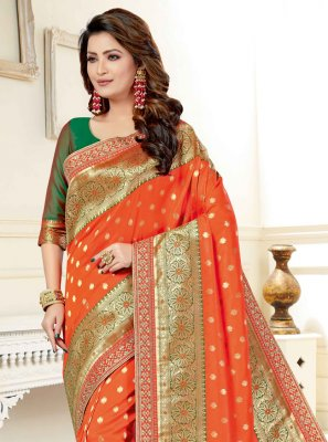 Art Silk Patch Border Orange Designer Traditional Saree