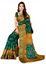 Art Silk Patch Border Traditional Designer Saree in Green