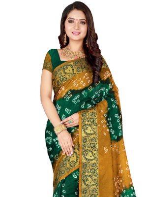 Art Silk Patch Border Traditional Designer Saree in Green