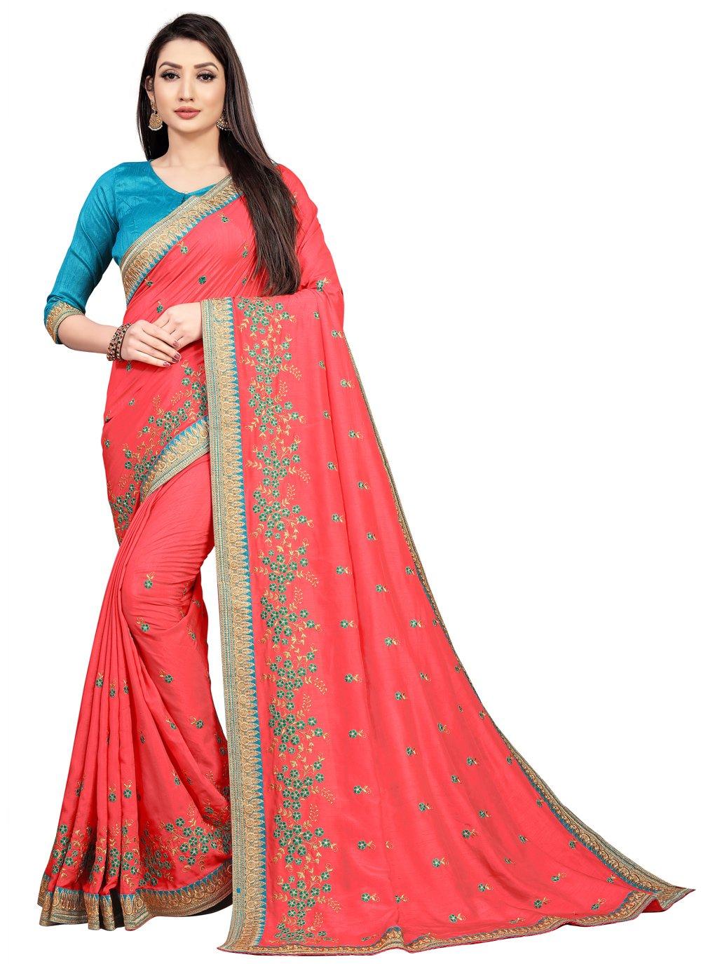 Art Silk Pink Bollywood Saree