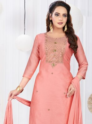Art Silk Pink Embroidered Designer Salwar Kameez