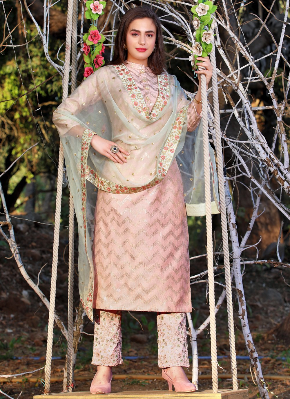 Art Silk Pink Embroidered Readymade Suit