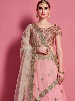 Art Silk Pink Lace A Line Lehenga Choli