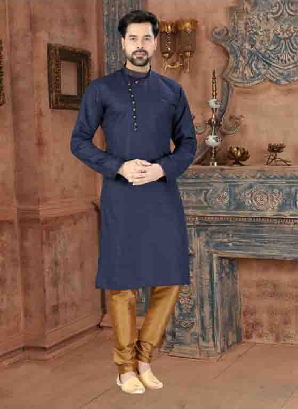 Art Silk Plain Kurta Pyjama in Grey