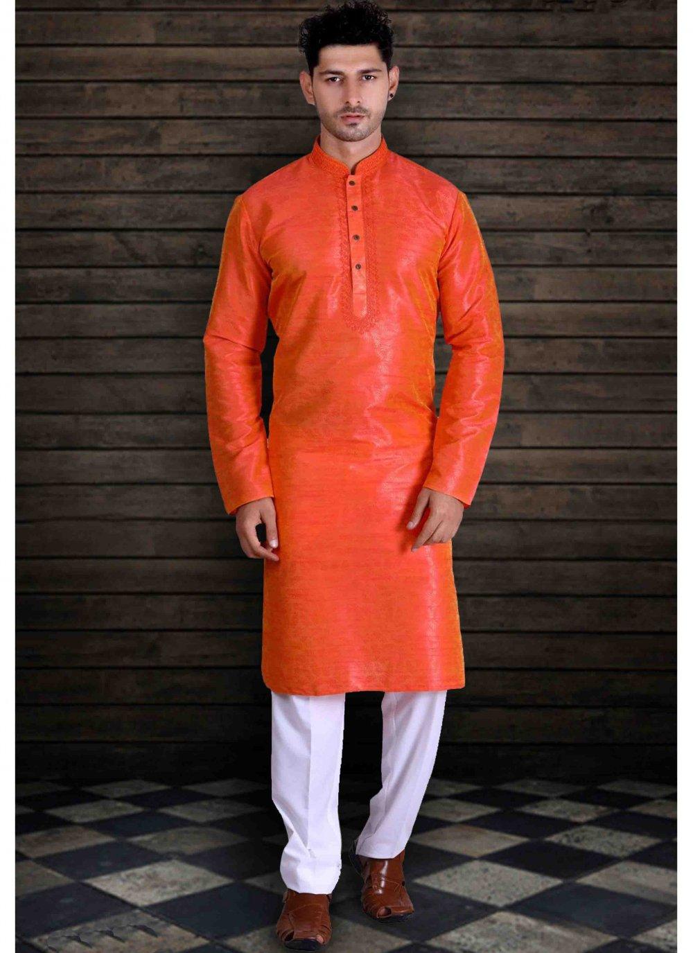 Art Silk Plain Kurta Pyjama in Orange