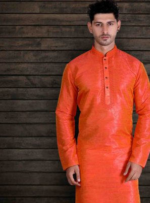 Art Silk Plain Kurta Pyjama in Orange
