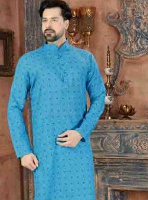 Art Silk Print Blue Kurta Pyjama