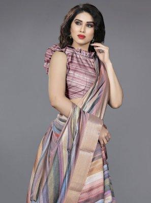 Art Silk Print Multi Colour Traditional Saree