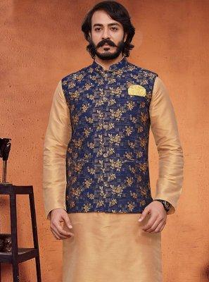 Art Silk Printed Beige and Blue Kurta Payjama With Jacket