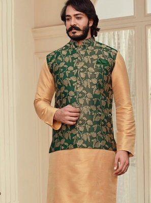 Art Silk Printed Beige and Green Kurta Payjama With Jacket