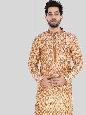 Art Silk Printed Beige and Orange Kurta Pyjama