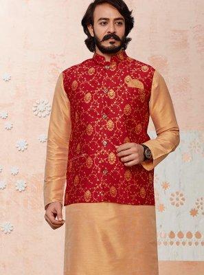 Art Silk Printed Beige and Red Kurta Payjama With Jacket