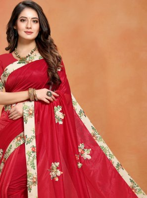 Art Silk Printed Classic Saree in Red