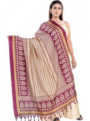 Art Silk Printed Cream Designer Dupatta