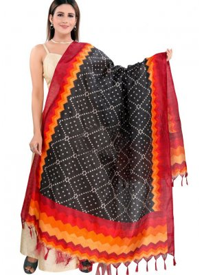 Art Silk Printed Designer Dupatta in Black