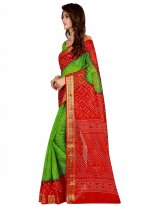 Art Silk Printed Designer Traditional Saree in Green and Red