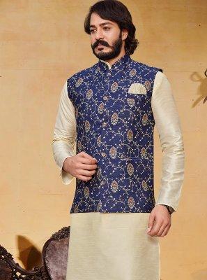 Art Silk Printed Kurta Payjama With Jacket in Blue and Cream