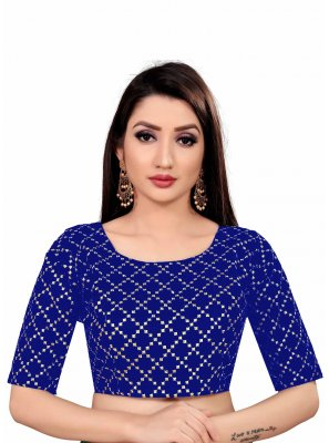Art Silk Printed Navy Blue Blouse