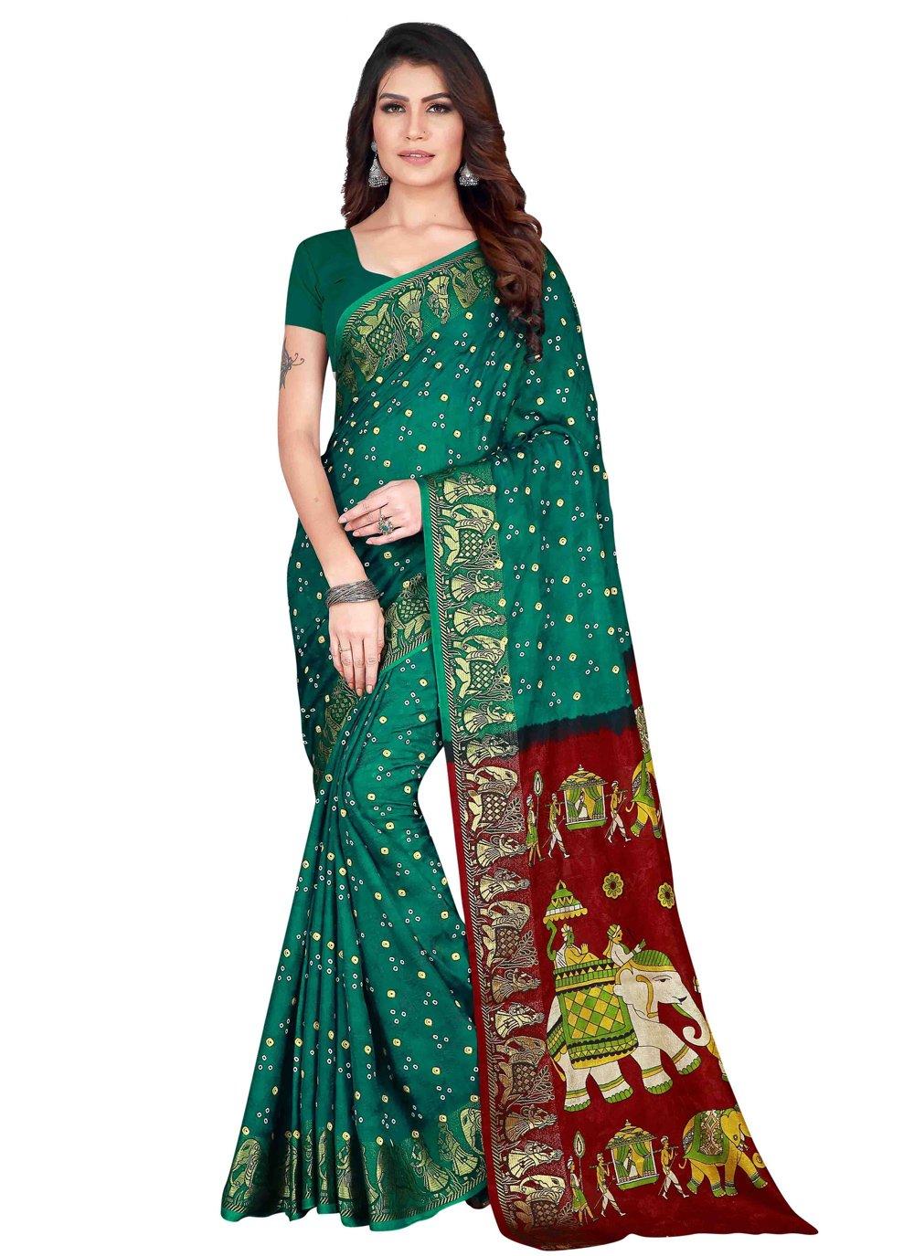 Art Silk Printed Rama Traditional Designer Saree