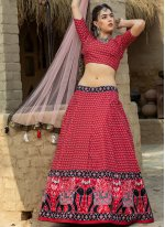 Art Silk Printed Red Lehenga Choli