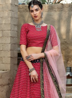 Art Silk Printed Red Lehenga Choli