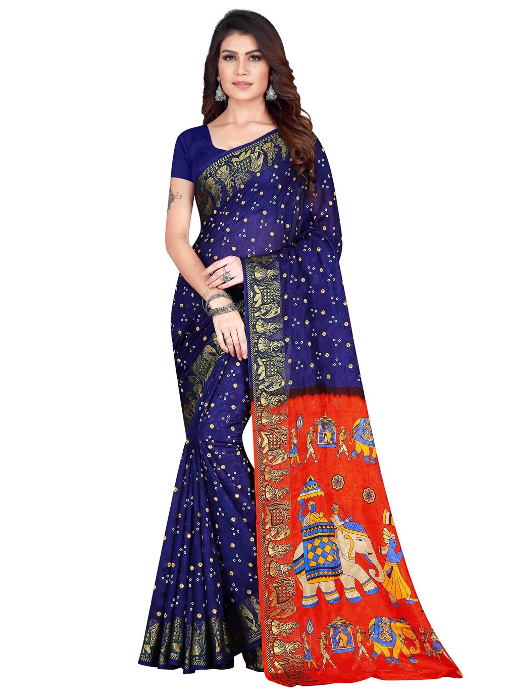 Art Silk Printed Traditional Designer Saree in Blue