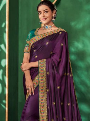 Art Silk Purple Embroidered Designer Saree