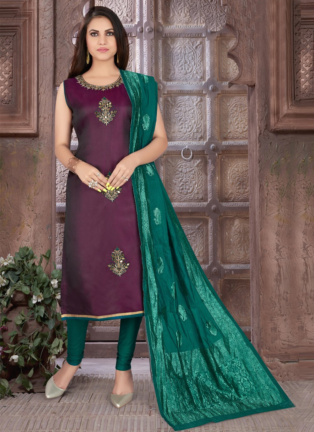 Art Silk Purple Embroidered Readymade Suit