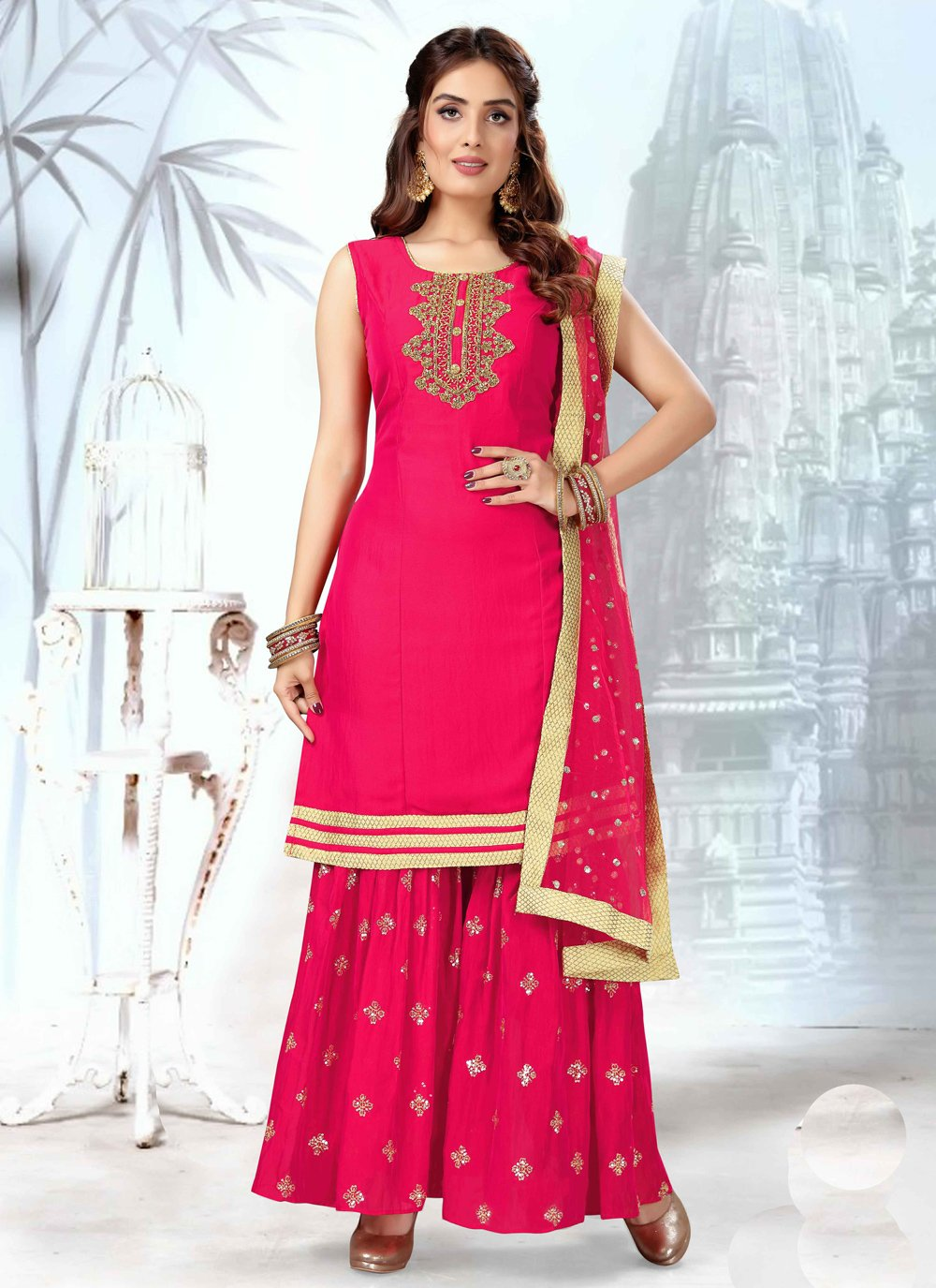 Art Silk Readymade Suit in Hot Pink