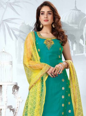 Art Silk Readymade Suit in Sea Green