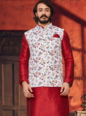 Art Silk Red and White Printed Kurta Payjama With Jacket