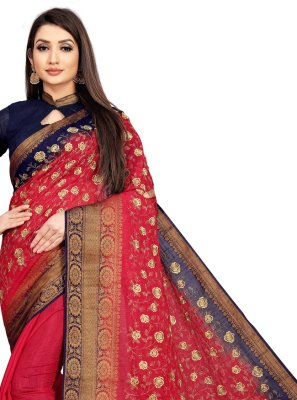 Art Silk Red Embroidered Bollywood Saree