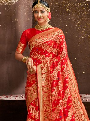 Art Silk Red Weaving Traditional Designer Saree