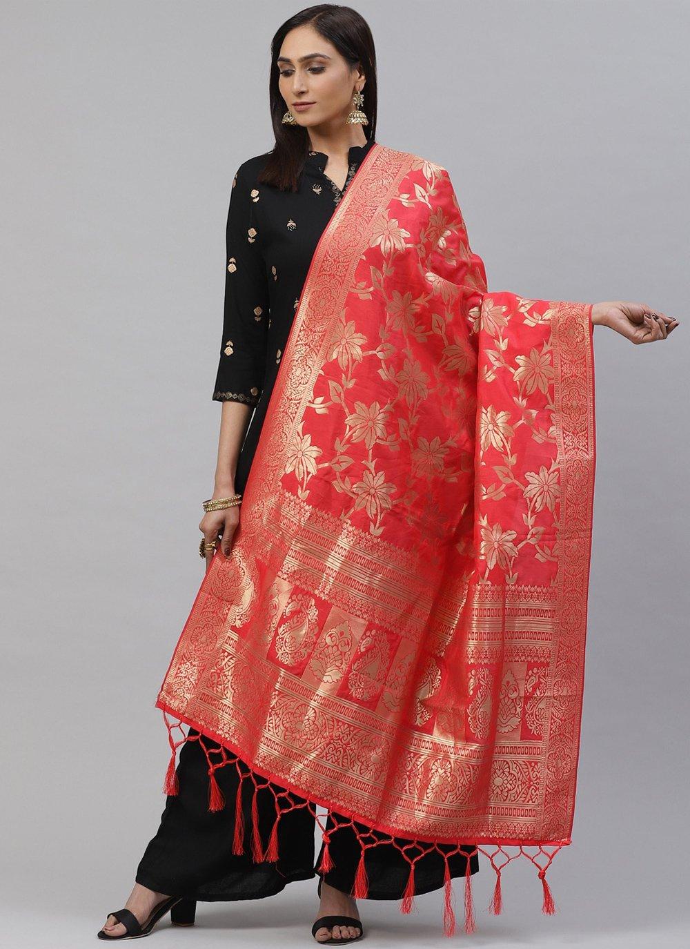 Art Silk Rose Pink Weaving Designer Dupatta
