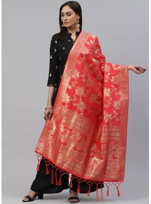 Art Silk Rose Pink Weaving Designer Dupatta