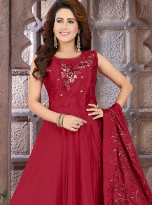 Art Silk Sangeet Floor Length Anarkali Suit
