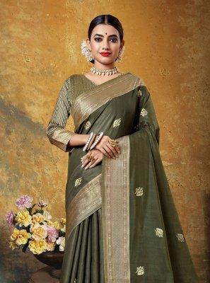 Art Silk Sea Green Woven Bollywood Saree