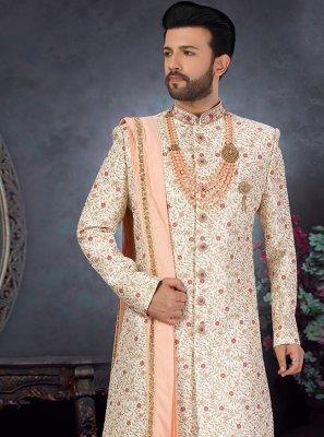 Art Silk Sherwani in Off White